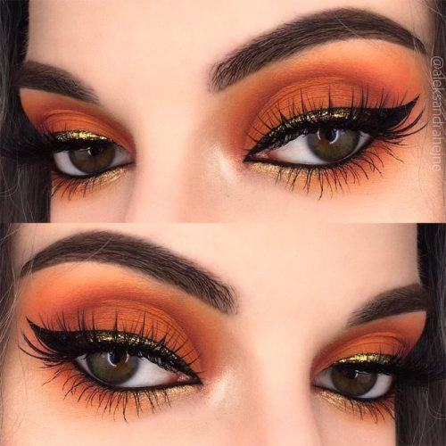Orange Smokey Eyes With Festive Eyeliner #eyeliner