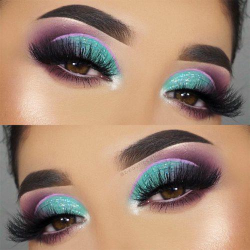 Purple And Blue Smokey Eyes Makeup #shimmershadow