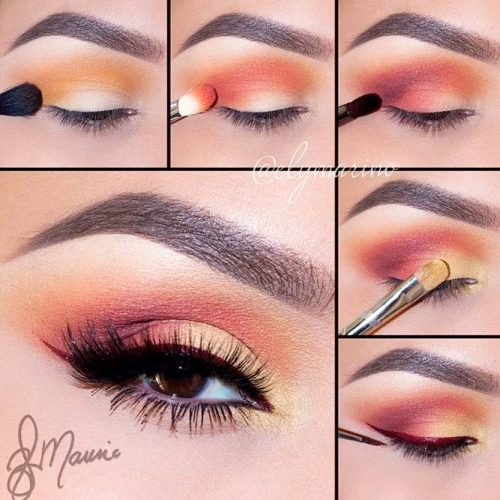 Sunset Almond Eyes Makeup #smokeystepbystep #burgundyline