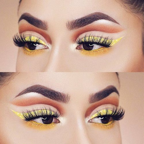 Yellow Eyeliner Makeup For Almond Eyes #yelloweyeliner #wings