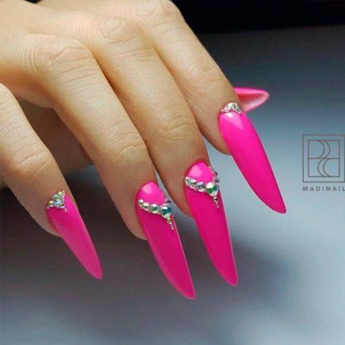 Bright Nails With Rhinestone Half Moons #longnails #rhinestonesnails #nailart