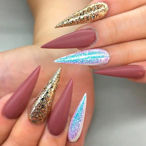 Matte Top And Glitter – Perfect Combo #longnails #mattenails #glitternails
