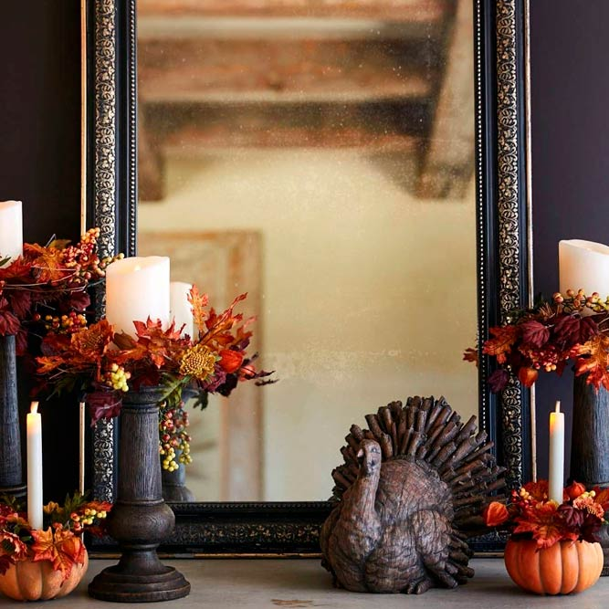 Elegant Decoration With Leaves #fallcandle #candleholders