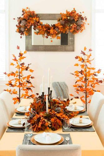 Fall Foliage Décor For A Dining Room #fallfoliage #diningroomdecor