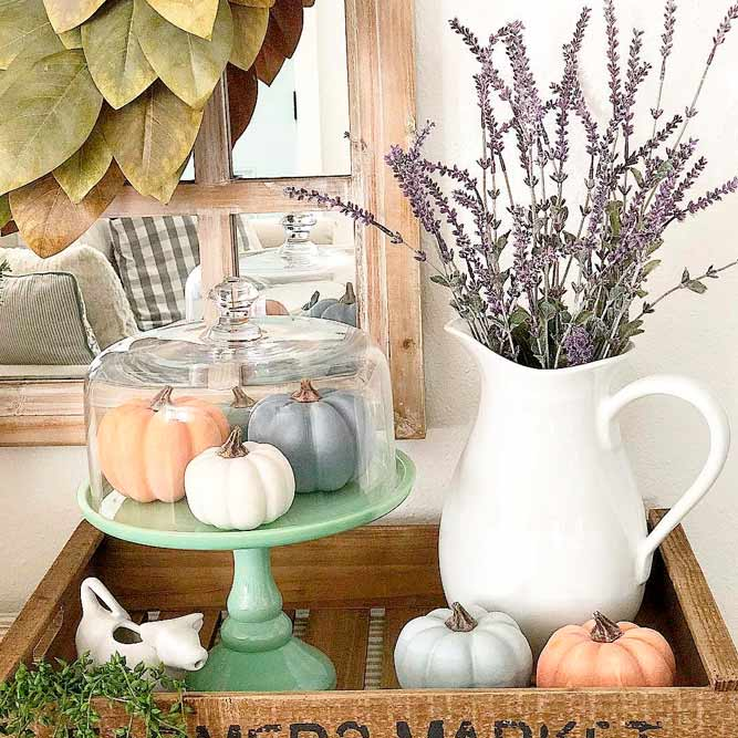 Display Fall Gourds Under Glass #prettyfalldecor #tinypumpkins