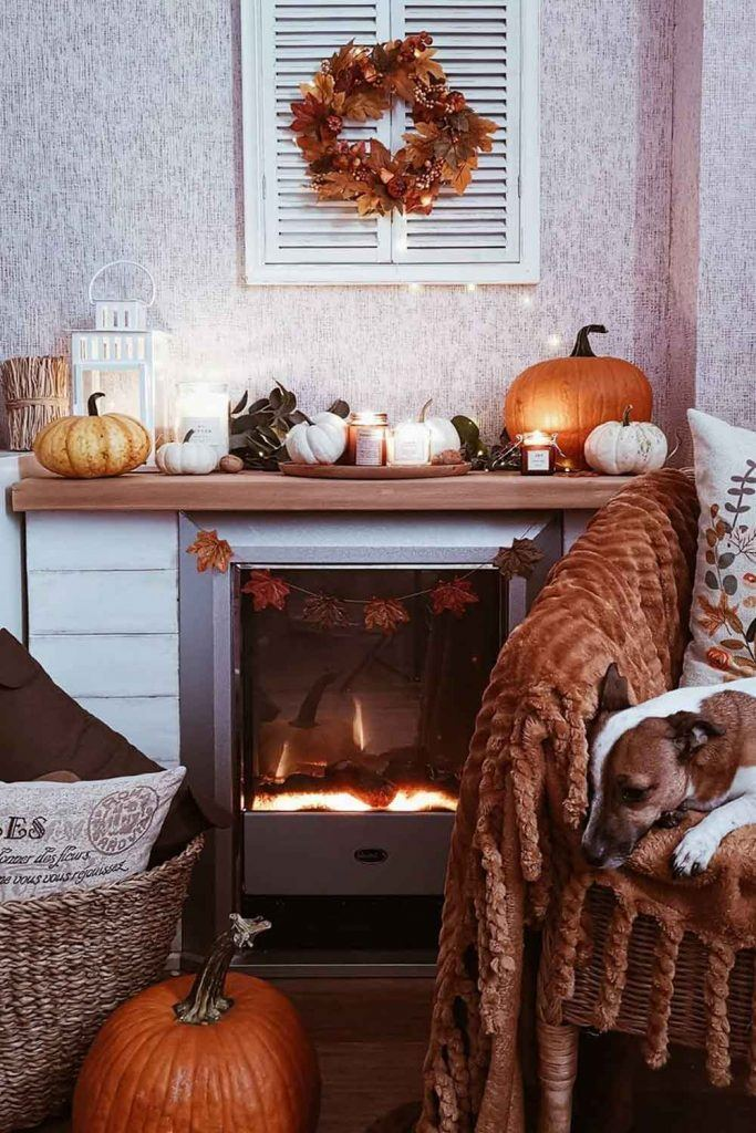 Fireplace Fall Decorations