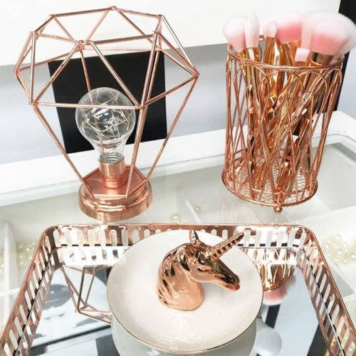 Rose Gold Girl's Accessories #rosegold #brushholders
