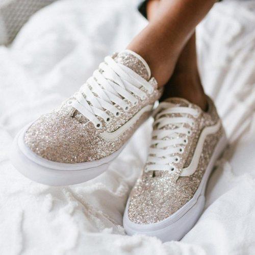 Glitter Keds Gift Idea #goldglitter #glittershoes