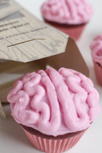 Zombie Brain Cupcakes #zombie #brain