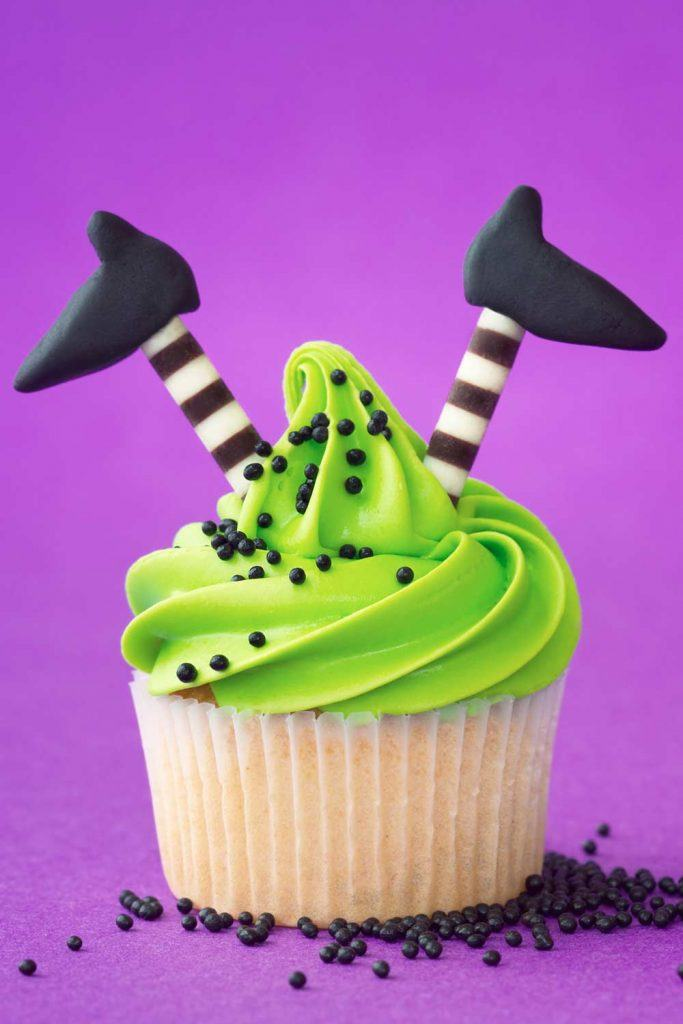 Halloween Cupcake Idea With Witch Legs Accent
