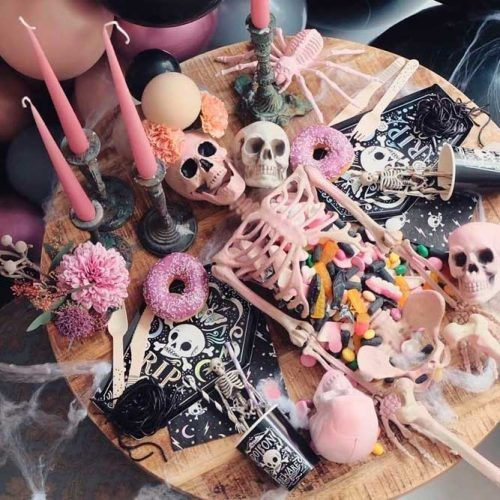 Skeleton Table Decor #partyfood #halloweendecor #decoration