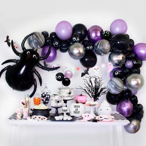 Black Widow Themed Bash #balloons #halloweendecor #decoration