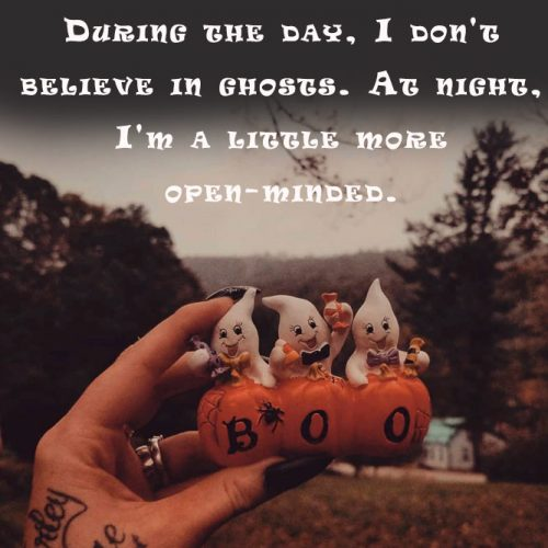 During the day, I do not believe in ghosts. At night, I'm a little more open-minded. #happyhalloween #funhalloweenquotes