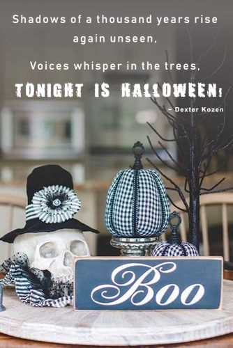 Shadows of a thousand years rise again unseen, voices whisper in the trees: Tonight is Halloween! (Dexter Kozen) #happyhalloween #funhalloweenquotes
