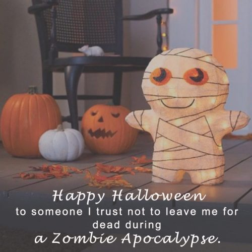Happy Halloween to someone I trust not to leave me for dead during a zombie apokalypse. #happyhalloween #funhalloweenquotes