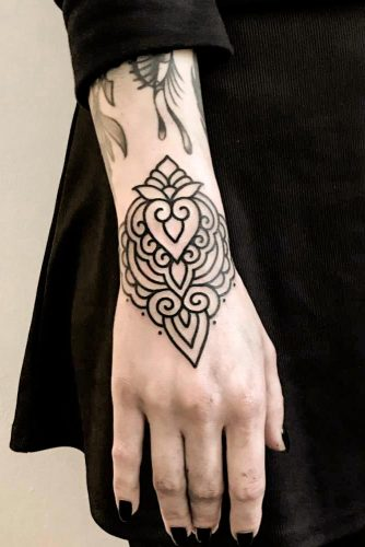 Bracelet Mandala Tattoo Design #wristtattoo