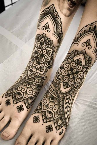 Black And White Feet Tattoo #feettattoo