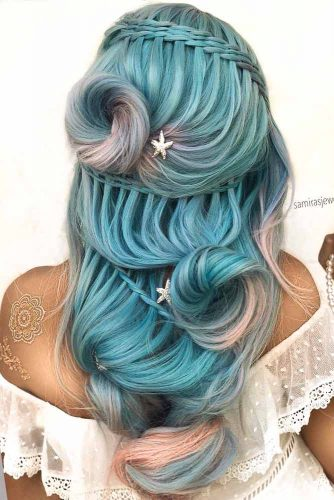 Pastel Blue Long Hair #bluehair #hairaccessory #longhairstyle