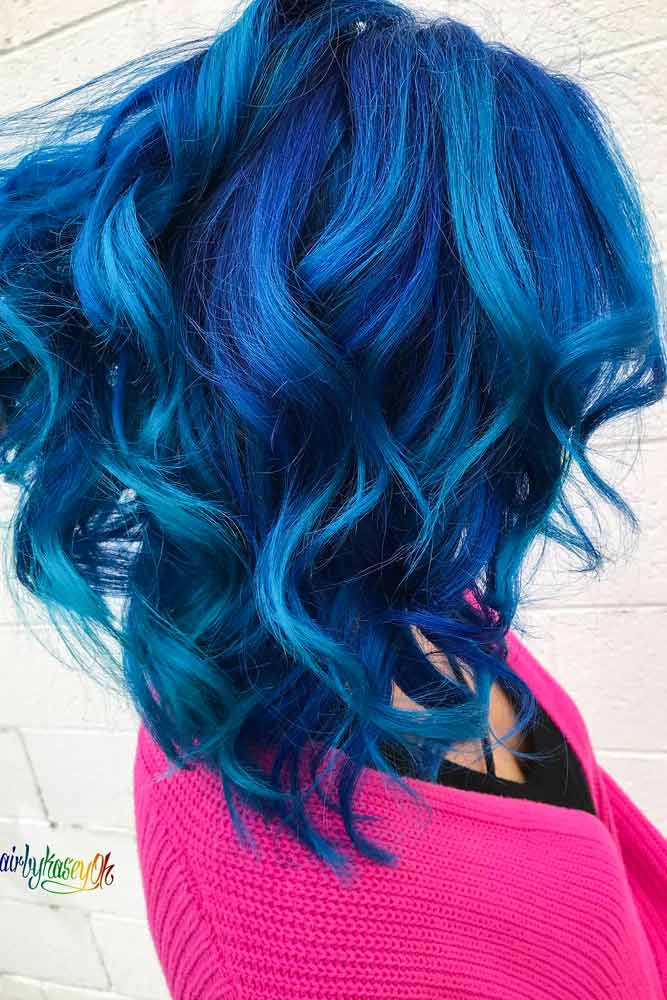 Cobalt Blue Mermaid Hair #bluehair #wavyhair