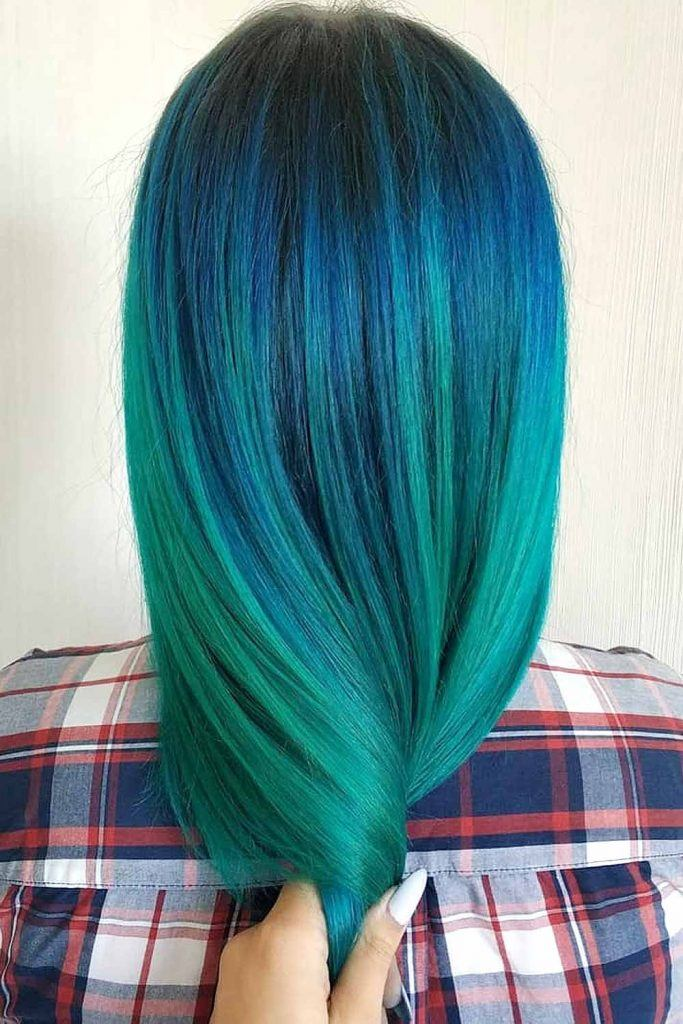 Mermaid Hair with Green and Navy Blue Colors