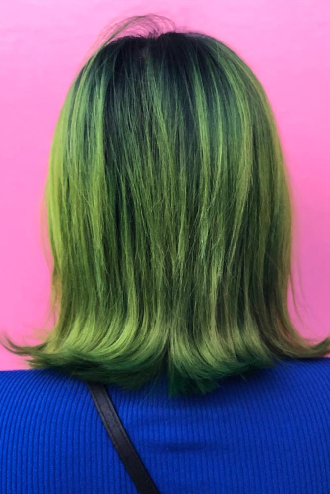 Medium Hair With A Sea Green Color #greenhair #seagreenhair