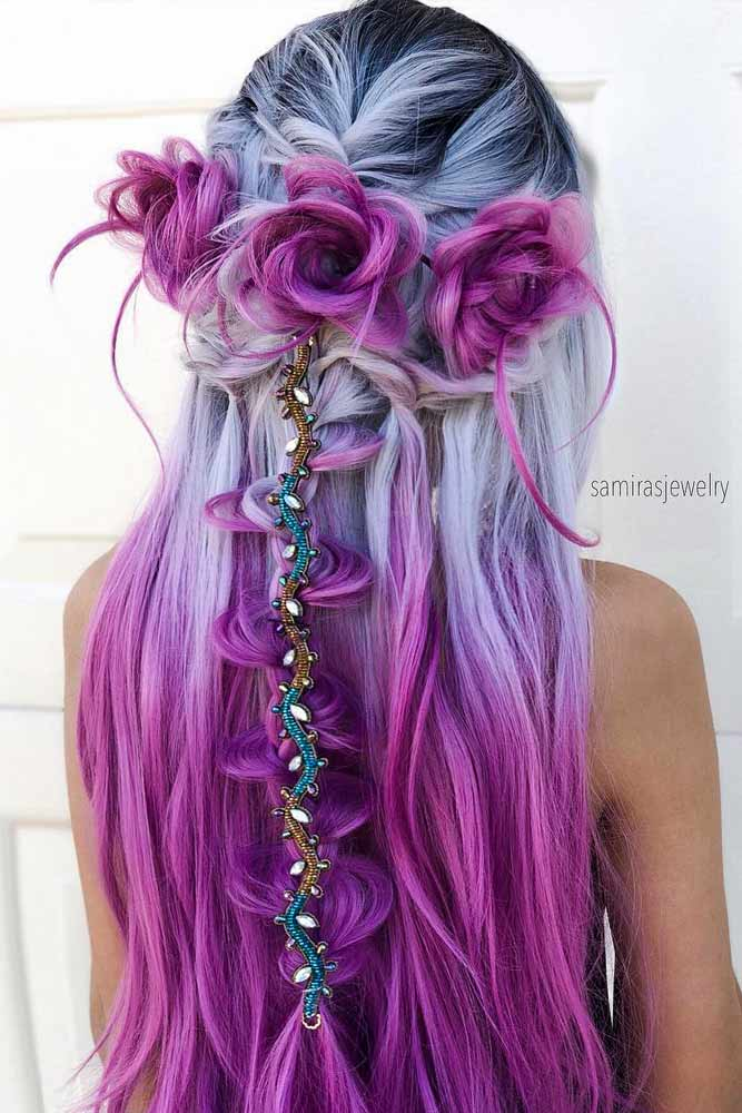 Long Mermaid Silver And Purple Hair Color #ombrehair #purplehair