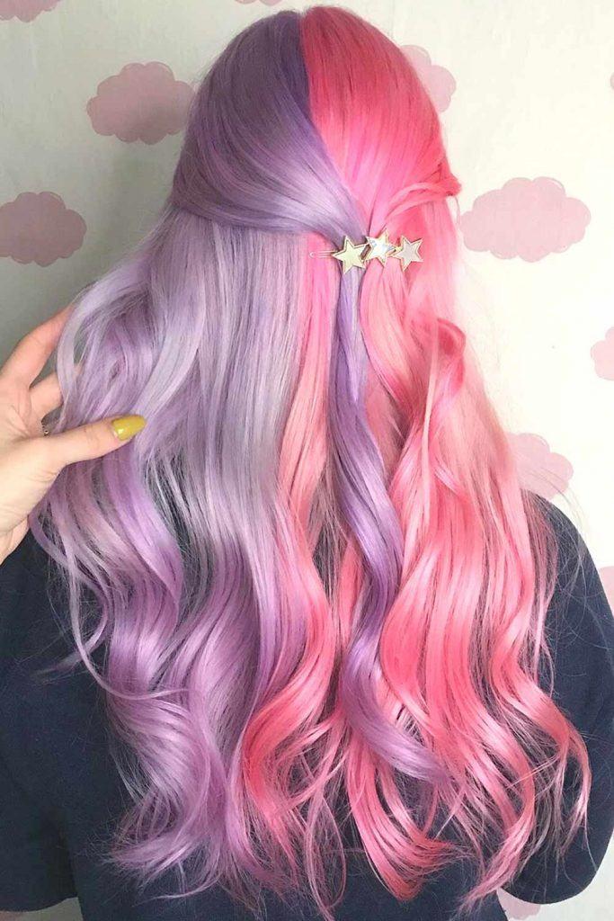 Half Purple Half Pink