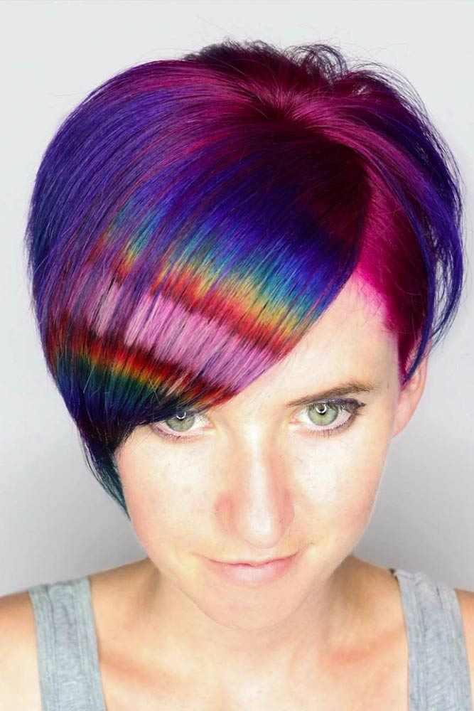 Short Mermaid Hair With Rainbow Colors #rainbowhair