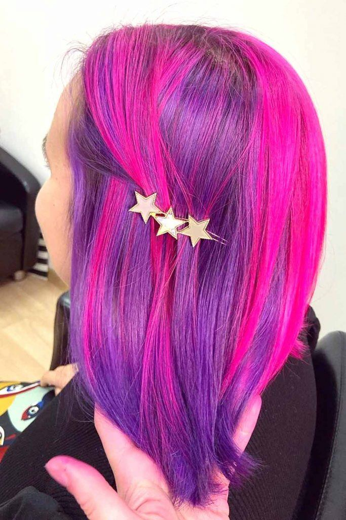 Vibrant Purple With Pink Highlights