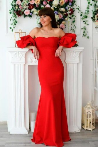 Shoulder-Off Mermaid Dress #reddress #mermaiddres