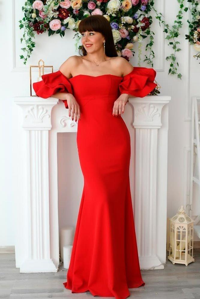 Shoulder-Off Mermaid Dress #reddress #mermaiddres