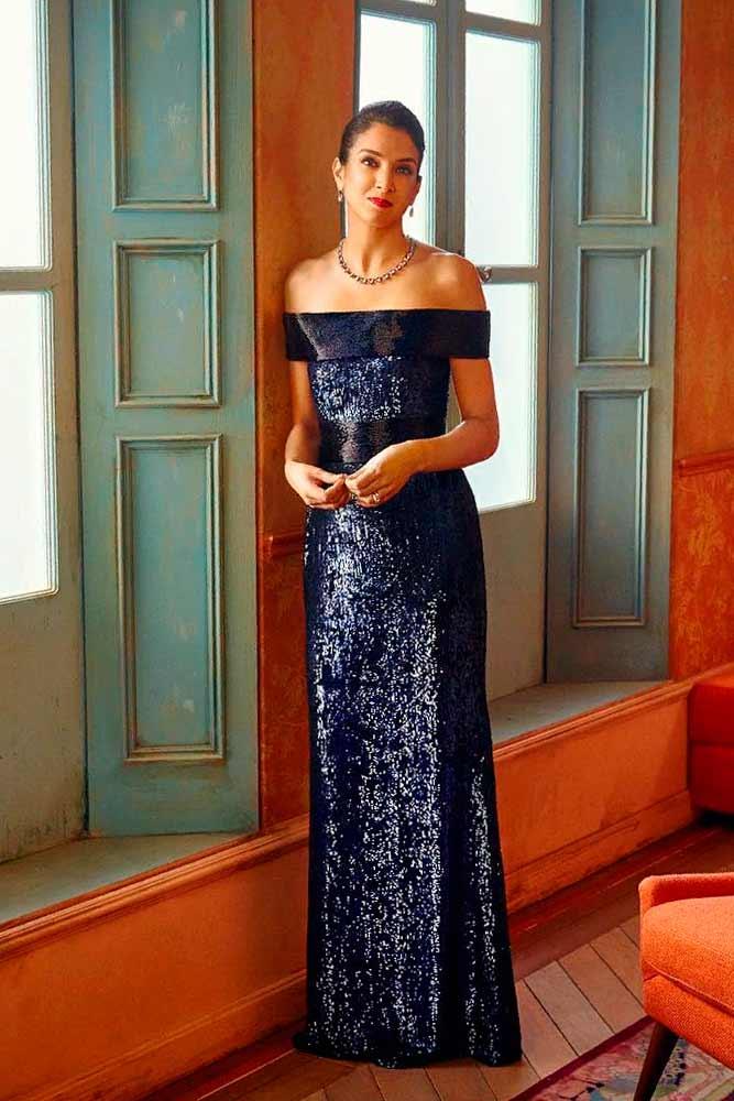 Sparkly Shoulder Off Dress #longdress #sparklydress