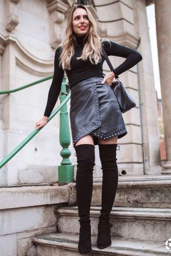 All Black Outfit With Over The Knee Boots #allblackoutfit