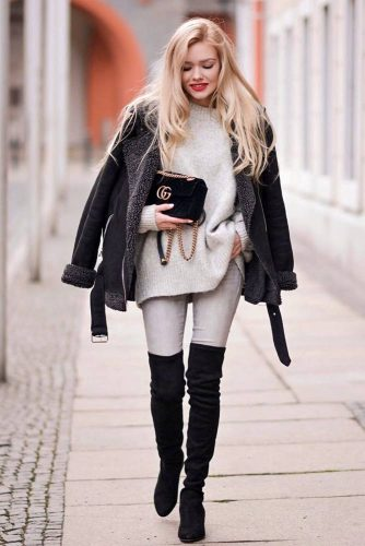 Classy Black And White Outfit #blackboots