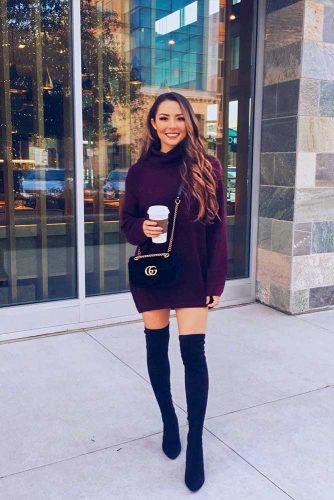 Burgundy Sweater Dress With Black Boots #burgundysweater