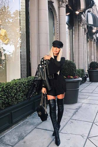 Back To Black: Leather Jacket And Black Dress #blackdress #blackjacket