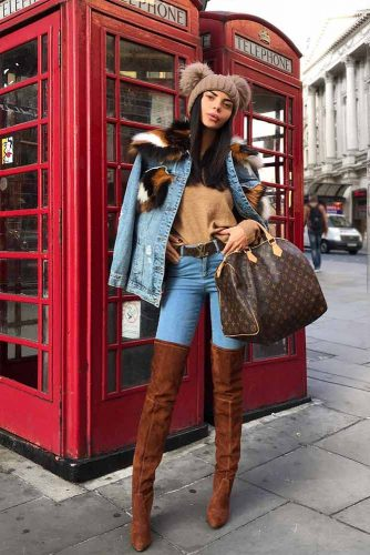 Denim Outfit In Blue And Brown Colors #denimoutfits