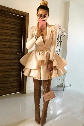 Cream Colored Outfit With A Long Sleeve Dress #longsleevedress