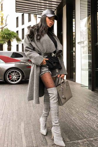 Grey Colored Outfit With A Belted Coat #greyboots #greycoat