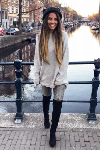 Long Grey Sweater With Jeans #casualoutfits #greysweater