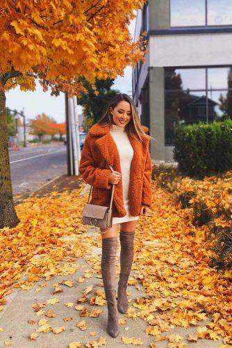 Fall Colored Fluffy Jacket #orangejacket