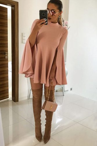 Pair Nude Boots With A Nude Pink Dress #pinkdress