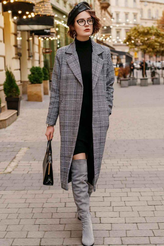 Classy Gray OTK Boots and Coat