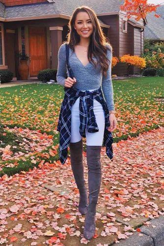 Flannel Shirt With White Jeans #flannelshirt #whitejeans