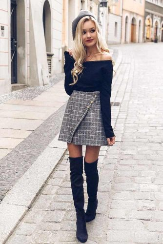 Plaid Skirt With An Off The Shoulder Top #offtheshouldertop #plaidskirt