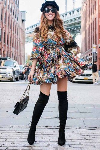 Print Ruffled Dress With Black OVer The Knee Boots Outfit #printdress #hat