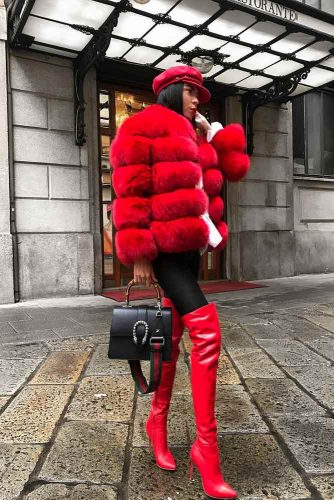 Red Outfit With A Short Fluffy Jacket #redboots