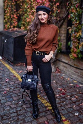 Brown Sweater With Black Jeans #blackjeans