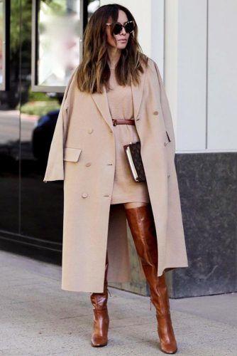 Beige Dress With Coat #beigecoat #sweaterdress