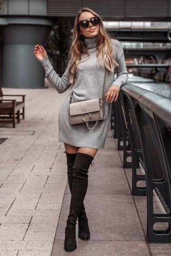 Gray Dress With Black Boots Outfit #graydress #blackboots